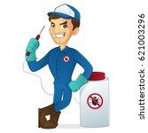 exterminator leaning on pest... | Shutterstock .eps vector #621003296