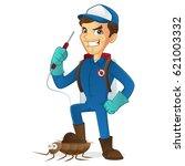 exterminator killing bug... | Shutterstock .eps vector #621003332