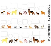 standing dogs and cats with... | Shutterstock .eps vector #621008072