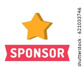 sponsor. ribbon with star icon. ... | Shutterstock .eps vector #621033746