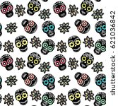 seamless pattern with floral... | Shutterstock .eps vector #621036842