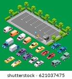 isometric urban transport... | Shutterstock .eps vector #621037475