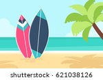 surfboards and palm tree on the ... | Shutterstock .eps vector #621038126