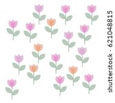 many pink and orange snowdrops... | Shutterstock .eps vector #621048815