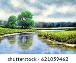 landscape. river oil digital... | Shutterstock . vector #621059462