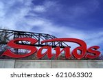 the sands logo at one of the... | Shutterstock . vector #621063302