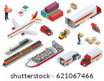 isometric logistics icons set... | Shutterstock .eps vector #621067466