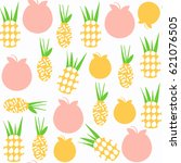 pineapple   seamless pattern.... | Shutterstock .eps vector #621076505