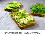 toast with avocado banana and... | Shutterstock . vector #621079982