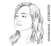 vector portrait of attractive...   Shutterstock .eps vector #621081056