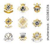 royal symbols  flowers  floral... | Shutterstock .eps vector #621083156