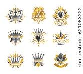 royal symbols  flowers  floral... | Shutterstock .eps vector #621083222