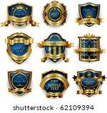 blue gold framed labels   Shutterstock .eps vector #62109394