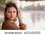 portrait style of beautiful...   Shutterstock . vector #621101552