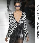 Small photo of NEW YORK, NY - FEBRUARY 12, 2017: Alysia Beckford walks the runway at the Custo Barcelona Fall Winter 2017 fashion show during New York Fashion Week at Pier 59
