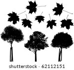 Set Of Vector Trees And Maple...