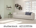 white room with sofa and urban... | Shutterstock . vector #621135536