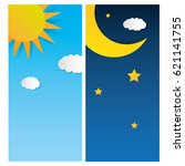 sun and moon  day and night....   Shutterstock .eps vector #621141755