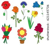 flower elements set  collection ... | Shutterstock .eps vector #621145736