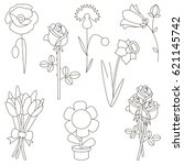 flower elements set  collection ... | Shutterstock .eps vector #621145742