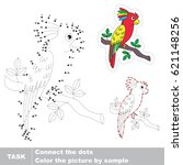 beautiful colorful parrot. dot... | Shutterstock .eps vector #621148256