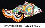 indian folk painting  madhubani ... | Shutterstock .eps vector #621157682