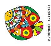 indian folk painting  madhubani ... | Shutterstock .eps vector #621157685