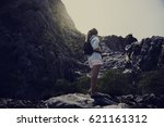 young woman solo trip travel... | Shutterstock . vector #621161312