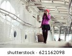 woman is traveling alone. she... | Shutterstock . vector #621162098