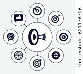 dart icons set. set of 9 dart... | Shutterstock .eps vector #621176756