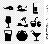 tropical icons set. set of 9...   Shutterstock .eps vector #621180572