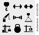 lifting icons set. set of 9... | Shutterstock .eps vector #621181436