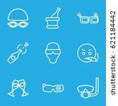 glasses icons set. set of 9... | Shutterstock .eps vector #621184442