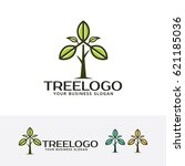 tree leaf  vector logo template | Shutterstock .eps vector #621185036