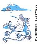 mermaid sitting on a rock ...   Shutterstock .eps vector #621194198
