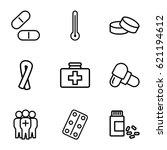 Illness Icons Set. Set Of 9...