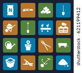 gardening icons set. set of 16... | Shutterstock .eps vector #621199412
