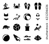 beach icons set. set of 16... | Shutterstock .eps vector #621206636