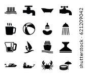 Water Icons Set. Set Of 16...