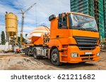orange car with cement on the... | Shutterstock . vector #621211682