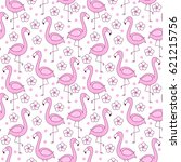 pink flamingo seamless pattern  ... | Shutterstock .eps vector #621215756