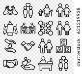 together icons set. set of 16... | Shutterstock .eps vector #621219938