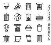 basket icons set. set of 16... | Shutterstock .eps vector #621227102
