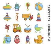 kids toys icons set. cartoon... | Shutterstock . vector #621233552