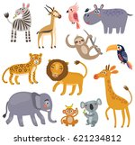 animals of the jungle. vector... | Shutterstock .eps vector #621234812