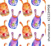 seamless pattern with easter... | Shutterstock . vector #621234908