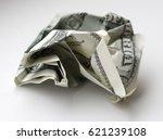 crumpled hundred dollar bill...   Shutterstock . vector #621239108