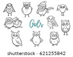 set of  cute funny owls. doodle ... | Shutterstock .eps vector #621255842