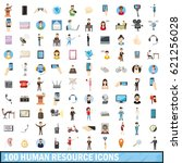 100 human resource icons set in ... | Shutterstock . vector #621256028