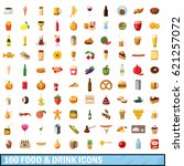 100 food and drink icons set in ... | Shutterstock . vector #621257072